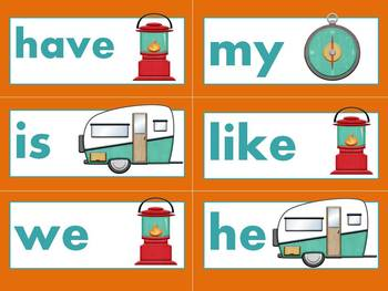 Kindergarten Sight Words - Turquoise Camping theme - EDITABLE
