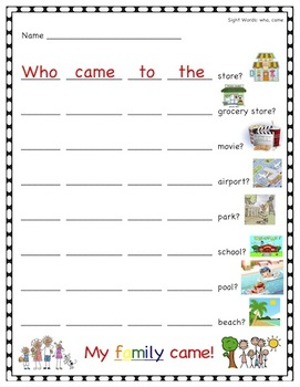 Kindergarten Sight Words Unit 4 Packet