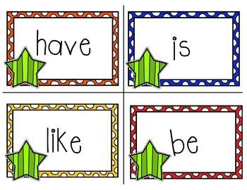 Kindergarten Sight Words - Word Wall Star Theme