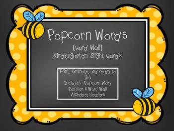 Kindergarten Sight Words - Word Wall Chalkboard Bumblebee Theme
