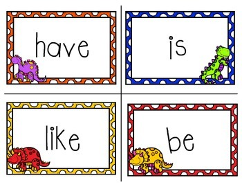 Kindergarten Sight Words - Word Wall Dinosaur Theme