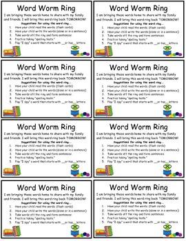 Kindergarten Sight Words-Word Worm Ring