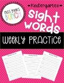 Kindergarten Sight Words- Writing