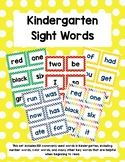 Kindergarten Sight Words - Yellow Polka Dots