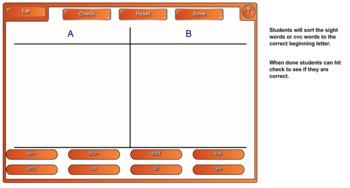 Kindergarten Sight Words and CVC Smartboard Sort