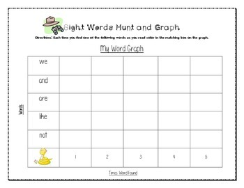 Kindergarten Sight Words Hunt and Graph