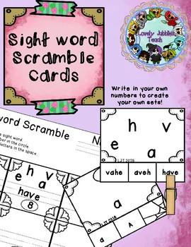 Kindergarten Sight word Scramble Clip Cards