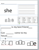 Kindergarten Sight word Sheet