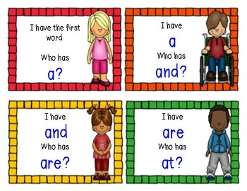 Kindergarten Sight word game I Have Who Has