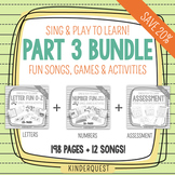 Kindergarten Sing & Play to Learn Bundle 3 Letters O-Z, Add/Subtract, Assessment