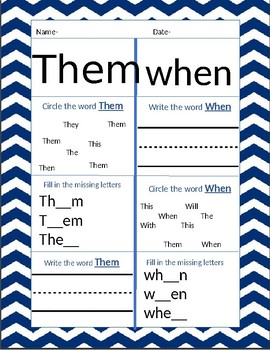 Kindergarten Site Words