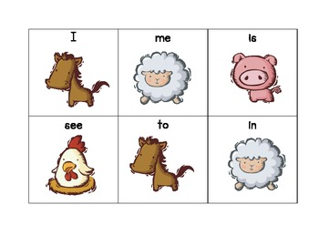 Kindergarten Site Words Flash Card Game - Farm Themed