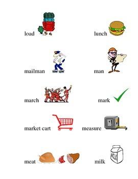 #20 Kindergarten Sight Words Matching Pictures