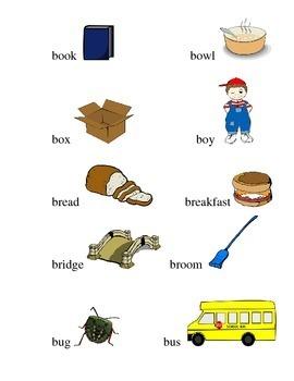 FREEBIE Words Pictures Book Bowl Box Boy Bread Breakfast B