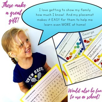 Beginning of the Year K Placemat: name, colors, shapes, numbers, & letters!