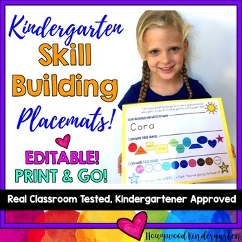 Kindergarten Skill Building Placemat: name, colors, shapes