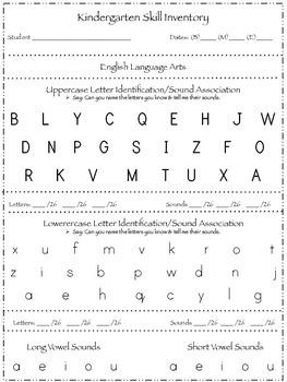 Kindergarten Common Core Skill Inventory Checklist
