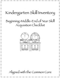 Kindergarten Common Core Skill Inventory Checklist