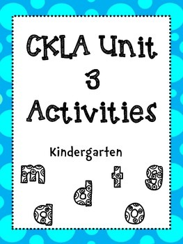 Unit 3 Kindergarten Skills Activities