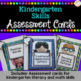 Kindergarten Skills: Assessment Cards