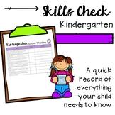 Kindergarten Skills Check Chart