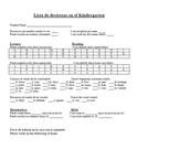 Kindergarten Skills Checklist English Spanish Bilingual