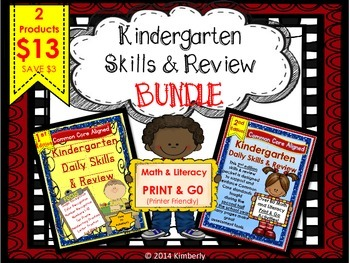 Kindergarten Skills & Review BUNDLE (1ST and 2ND EDITION) Print & Go