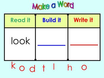 Kindergarten SmartBoard Sight Word Practice: Read it  Write it Make it