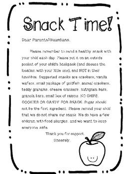 Kindergarten Snack Note