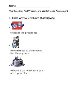 Kindergarten Social Studies Assessment- Thanksgiving, Past/Present, Wants/Needs