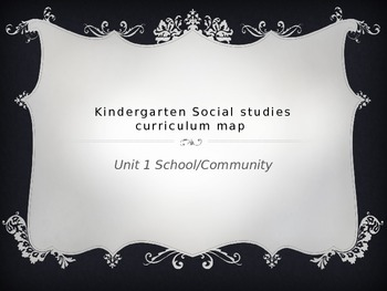 Kindergarten Social Studies Curriculum Map for Unit 1 School/community