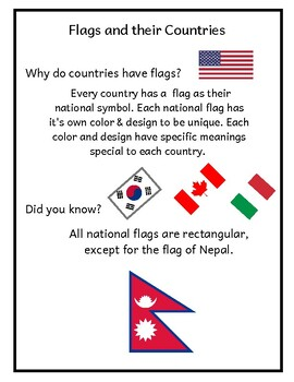 Kindergarten Social Studies (Flags and their Countries)