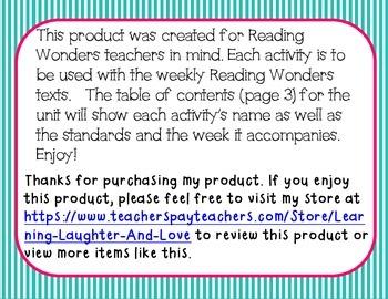Kindergarten Social Studies Reading Wonders Aligned Activities- 3rd Nine Weeks