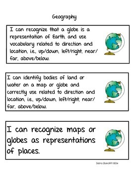Social Studies Standards Kindergarten
