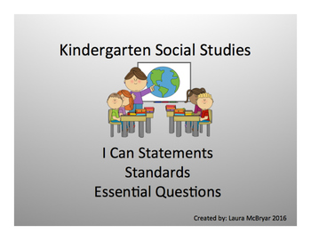 Kindergarten Social Studies Standards, I Can Statements, and Essential Questions