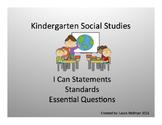 Kindergarten Social Studies Standards, I Can Statements, a
