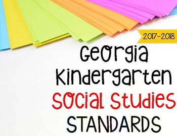 Kindergarten Social Studies Standards Posters Georgia Standards of Excellence