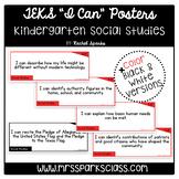 """Kindergarten Social Studies TEKS """"I Can"""" Statement Cards ("""