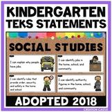 Kindergarten Social Studies TEKS - Can and Will Standards Statements