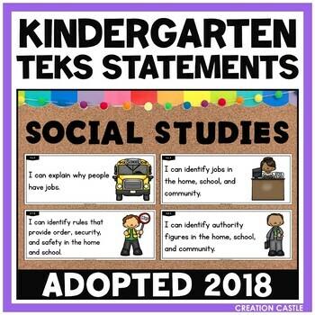 Kindergarten Social Studies TEKS - Can and Will Standards