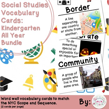 Kindergarten Social Studies Vocabulary Cards: Entire Year