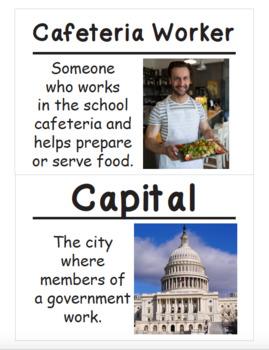 Kindergarten Social Studies Vocabulary Cards: School and School Community (L)