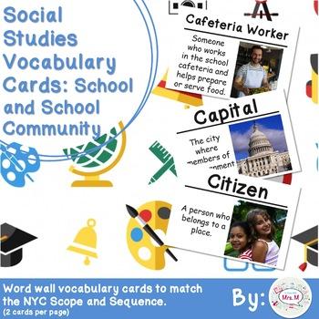 Kindergarten Social Studies Vocabulary Cards: School and S
