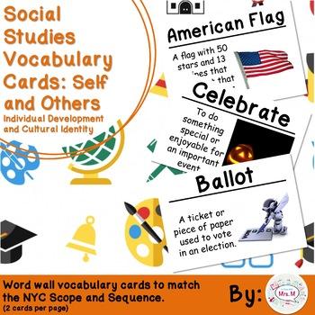 Kindergarten Social Studies Vocabulary Cards: Self and Oth