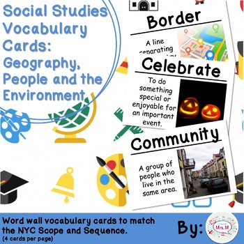 Kindergarten Social Studies Vocabulary Cards: The Neighborhood