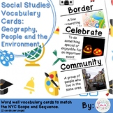 Kindergarten Social Studies Vocabulary Cards: Geography, People, Environment (L)