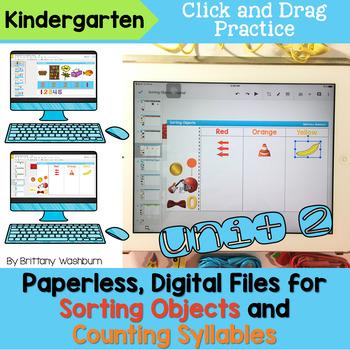 Kindergarten Sort Objects and Count Syllables Digital Activities