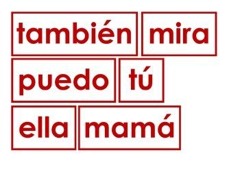 Kindergarten Spanish Sight Word Cards