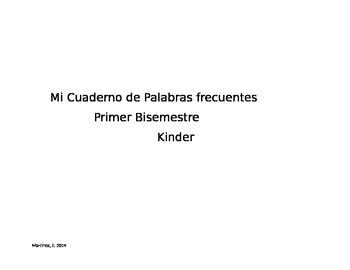 Kindergarten Spanish Sight Words Practice book part 1