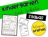 Kindergarten Spanish Silabas Exit Tickets